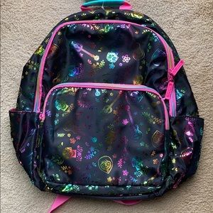 Holographic Disney Backpack with Rainbow Zippers